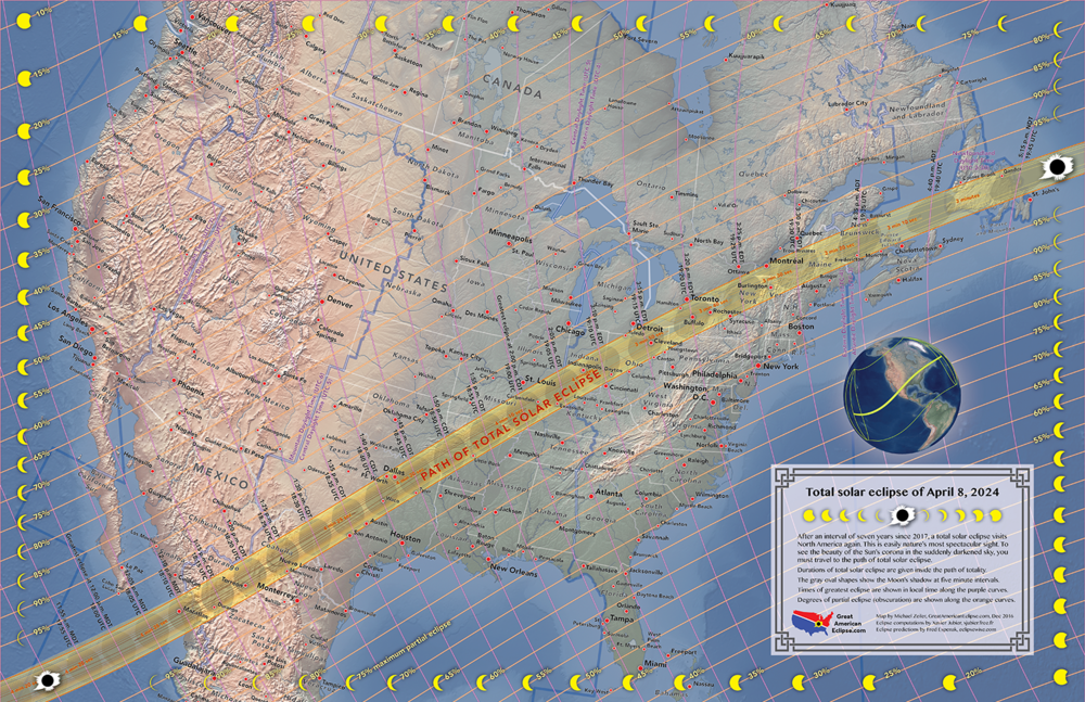 April 8, 2024 Total Solar Eclipse Map in 2 sizes! — Total solar ...